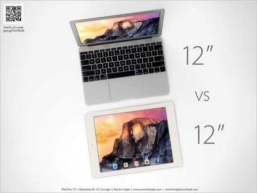12インチMacBook AIrとiPad Pro 上から比較