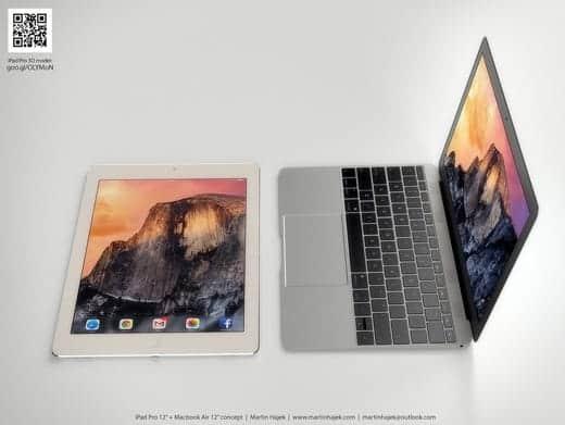 12インチMacBook AirとiPad Pro 横から比較