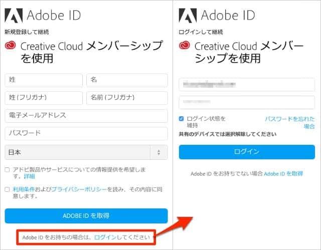 Adobe ID ログイン