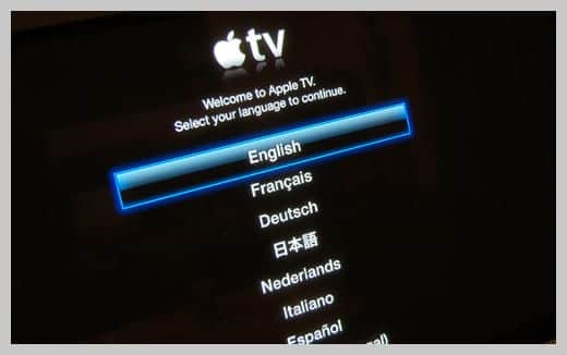 Apple TV 言語選択画面