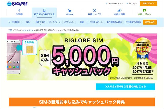 SIMのみ5,000円キャッシュバック