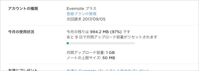 Evernote 今月の使用状況