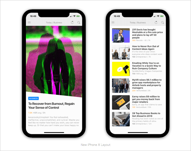 The new Feedly app is optimized for the iconic iPhone notch and respects the bottom home area.