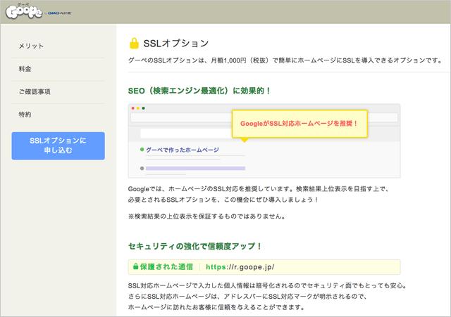 ウェブサイトの安全性も確保 SSLオプション