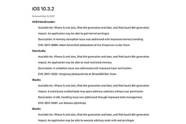 iOSやMacのアップデートが多数公開