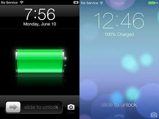 iOS 6とiOS 7 ロック画面比較