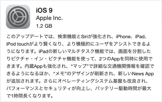 iOS 9 iPhone 6 Plusでは1.2GB