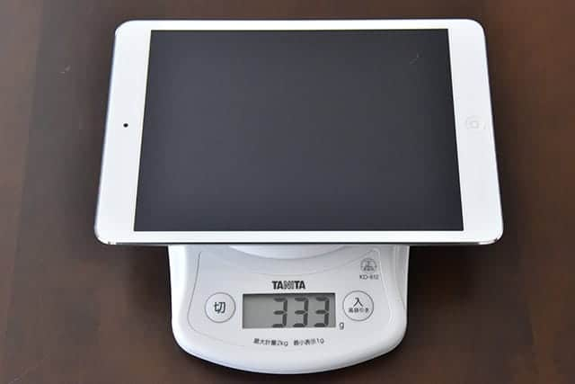 iPad mini 2の重さは333g