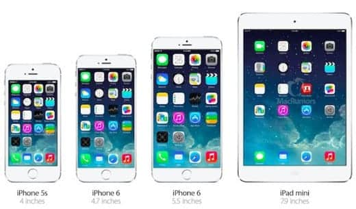 iPhone 5s 6 iPad mini 大きさ比較