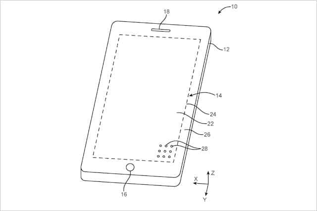 画面の下にカメラやセンサを隠す特許