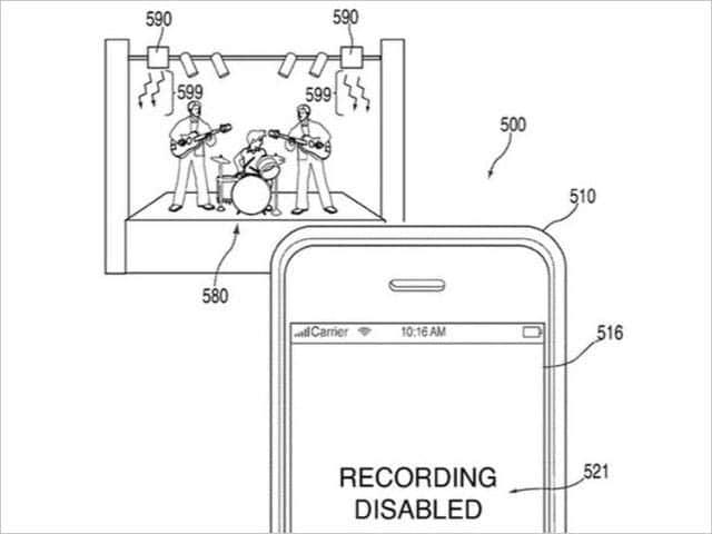 コンサート会場でiPhone録画機能を無効にする特許