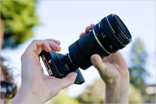 iPhoneにデジタル一眼レフ用レンズを装着できるアダプター
