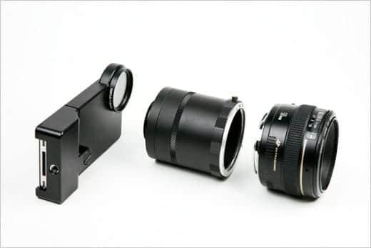 iPhoneにデジタル一眼レフ用レンズを装着できるアダプター パーツ