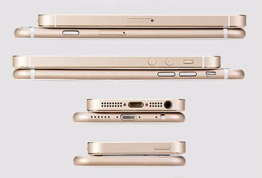 iPhone 6 ゴールドのモックアップ 丸みを帯びたデザイン
