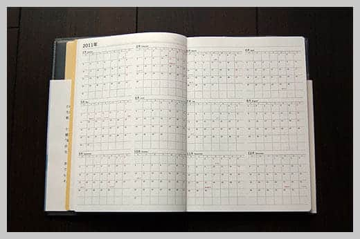 陰山手帳レビュー 4めくり目