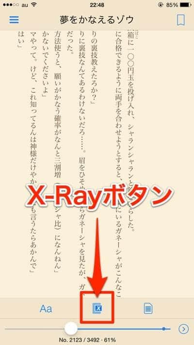 KindleアプリのX-Rayボタン