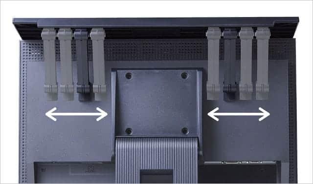 ディスプレイボードのアームの幅は調節可能