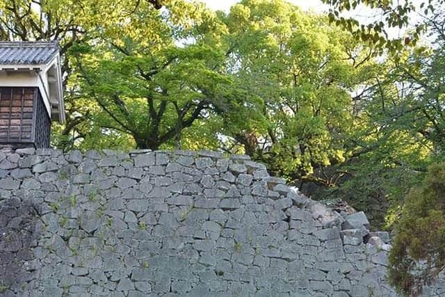 五間櫓の西側の石垣も崩れる