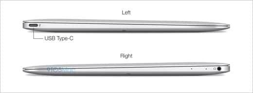MacBook Air 12インチ イヤホンジャックとUSBポートひとつのみ
