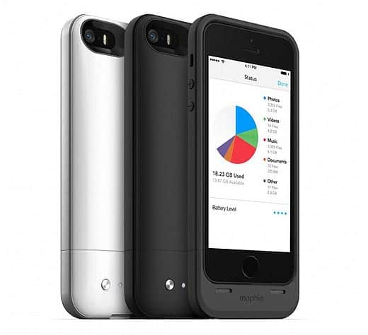 mophie space pack ストレージ内蔵バッテリーケース for iPhone 5s 5