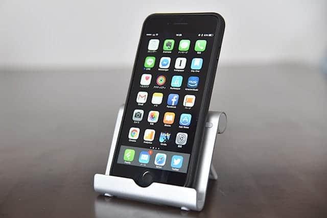 iPadと同じようにiPhoneを立ててみた