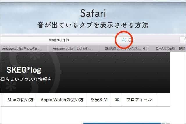 Safariで音が出ているタブを表示させる方法