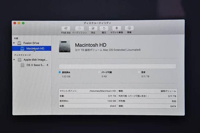 真っさらになったMacintosh HD