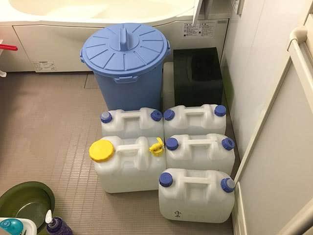 トイレを流す前に水を確保すること