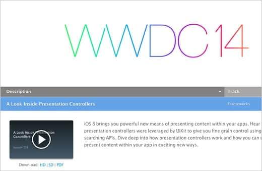 WWDC2014の開発者向けセッションビデオ107本が無料公開。ダウンロードも!