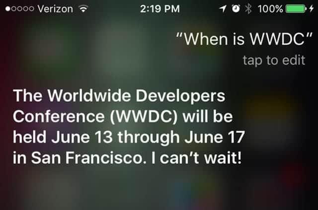 WWDC 2016は米国時間6月13日から Siriが明らかに