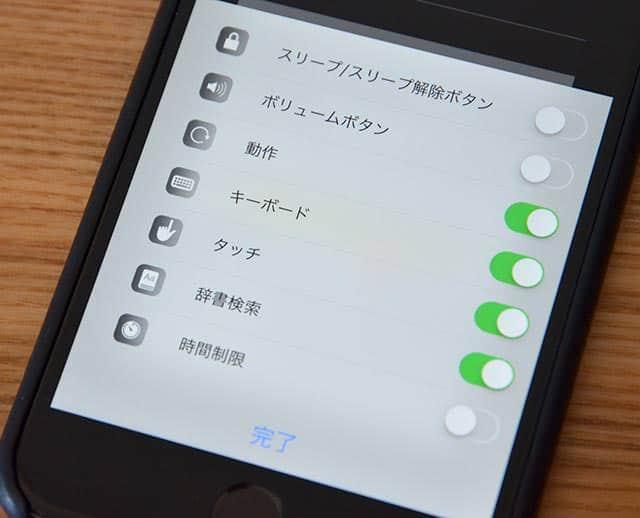 Safariのアクセスガイド オプション画面