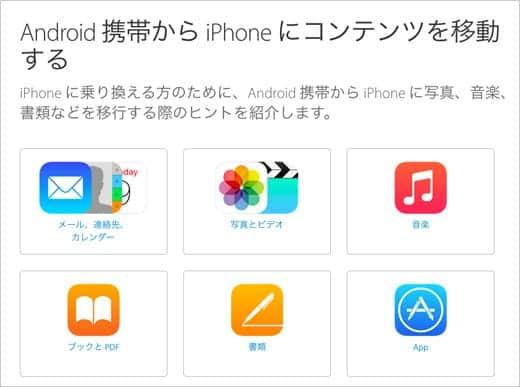 Android携帯からiPhoneにコンテンツを移動する