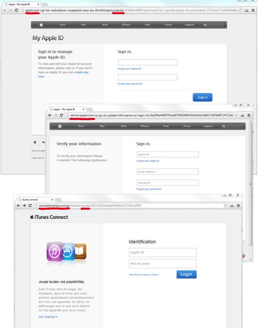 アップルの詐欺サイトにご注意