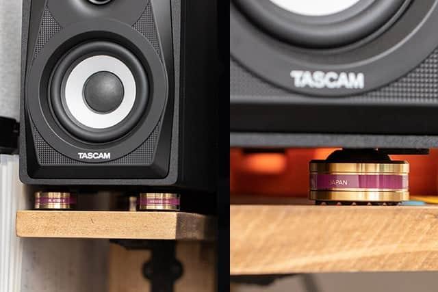 TASCAM VL-S3 左右のスピーカーにインシュレーターを設置