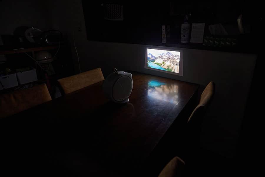キッチンの壁に投影