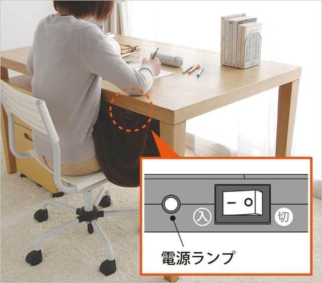 木の机にデスクヒーター