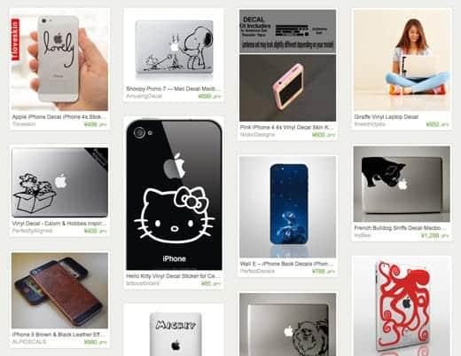 iPhoneやiPad、MacBook用のデコシールが買える「Etsy」