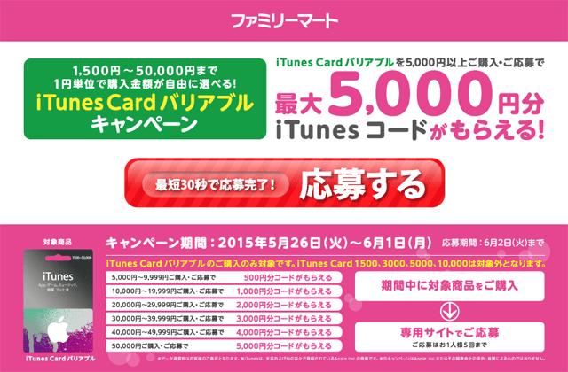 ファミリーマート iTunes Card バリアブルキャンペーン