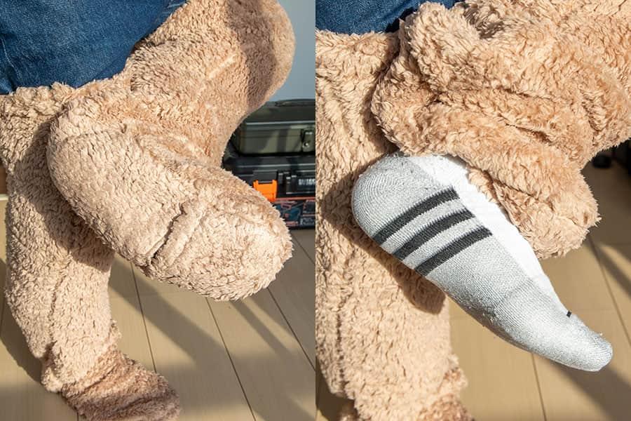 足用毛布の足先に穴があるので足を出せる