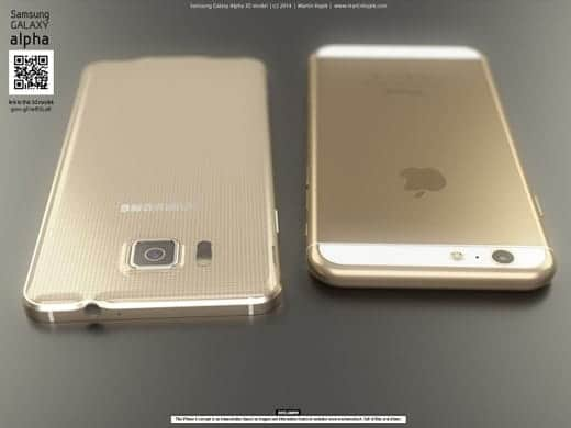 Galaxy Alpha vs iPhone6 背面