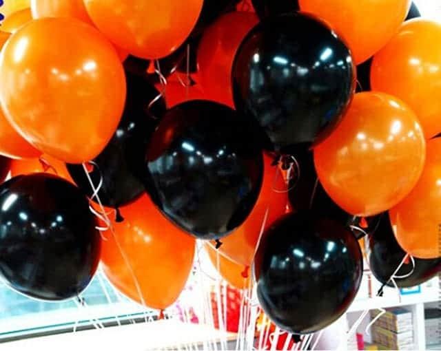 ハロウィン飾り風船 黒&オレンジセット