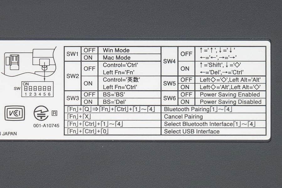 DIPスイッチとペアリングなどの操作方法