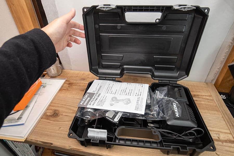 ハイコーキのインパクトドライバー ハードケースを開けた写真