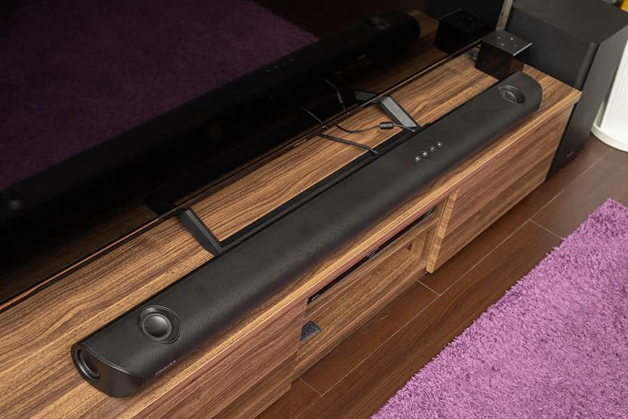 ハイセンスのサウンドバーHS512をテレビ台に設置