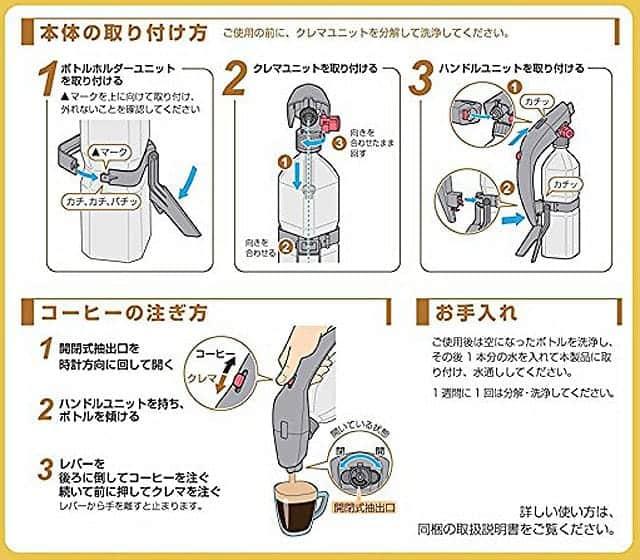 本体の取り付け方とコーヒーの注ぎ方とお手入れ方法