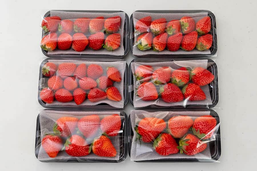6パックそれぞれ、苺の大きさ数が違いますが、全て1パックは150gになるように梱包してあります
