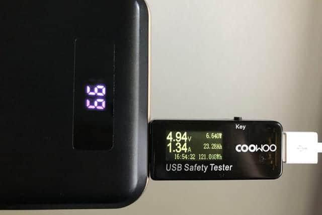 iPhone Xを挿した時の電圧と電流