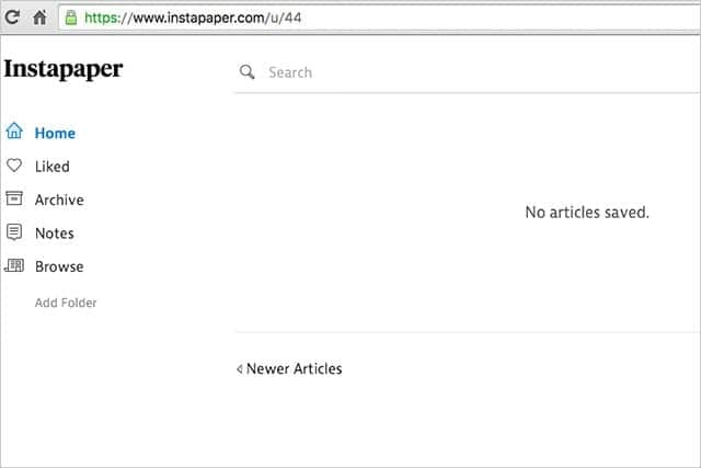 Instapaper No articles saved.