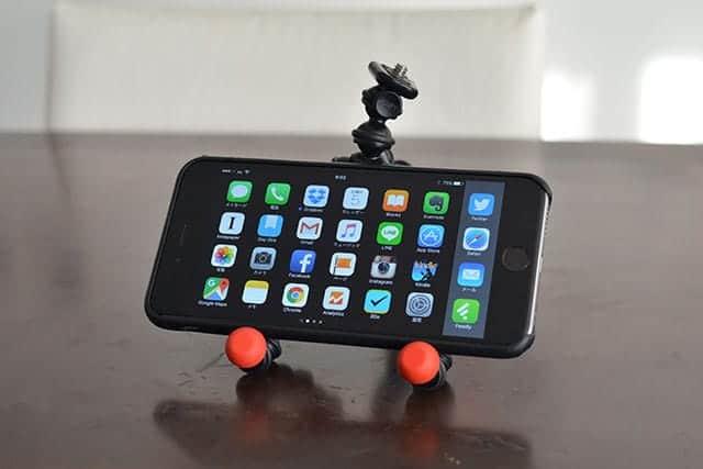 iPhone 6 Plusを横置きでゴリラポッドに置いてみた。