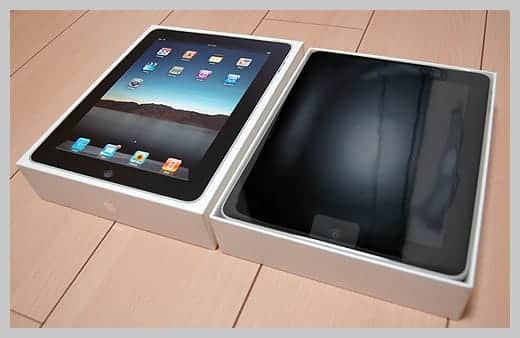 iPadの箱を開けた写真